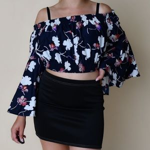 off the shoulder floral blouse from boohoo